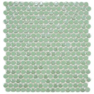 SomerTile 11.25x12-in Posh Penny Round Capri Porcelain Mosaic Tile (Pack of 10)