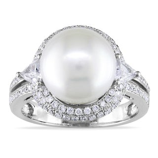 Miadora 14k Gold South Sea Pearl and 3/4ct TDW Diamond Ring (G-H, SI1-SI2)