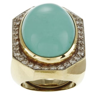 Pre-owned 18k Gold Turquoise and 1ct TDW Diamond Cocktail Art Deco Estate Ring (G-H, SI1-SI2)