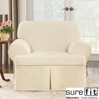 Sure Fit Contrast Cord Natural Chair T-cushion Slipcover