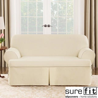 Sure Fit Contrast Cord Duck Natural T-cushion Loveseat Slipcover