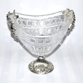 Threestar Clear Crystal / Silvertone Oval Footed Serving Bowl