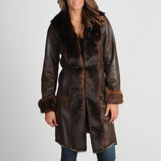 Nuage Women's 'Byrne' Brown Faux Fur Trimmed Coat