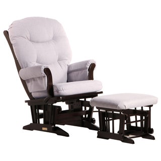 Dutailier Ultramotion Espresso/ Light Grey Multi-position Sleigh Glider and Ottoman Set