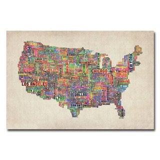Michael Tompsett 'US Cities Text Map VI' Canvas Art