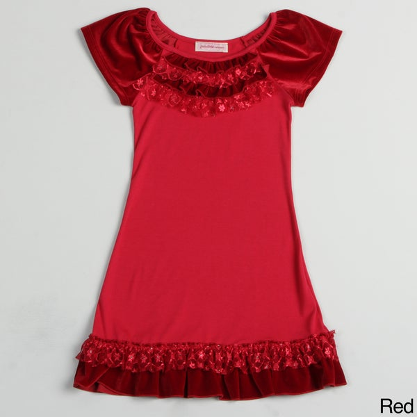 Paulinie Collection Girl's Short Sleeve Velvety Dress with Ruffles