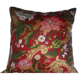 Ann Marie Lindsay Red Floral Decorative Pillow Cover