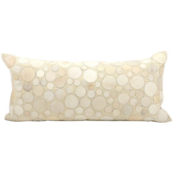 Mina Victory Cowhide Ivory 14 x 30-inch Decorative Pillow by Nourison