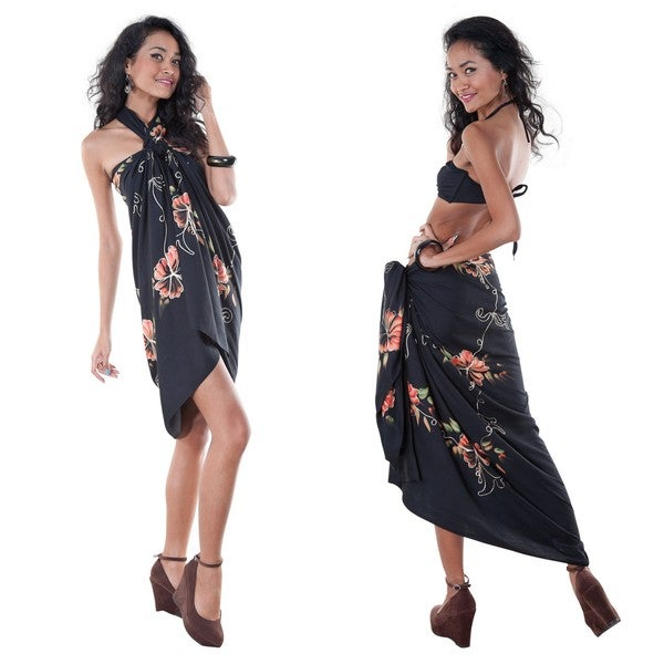 Black Hand-Embroidered, Hand-Painted Butterfly Sarong (Indonesia)