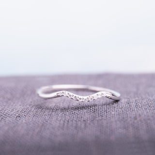 Haylee Jewels 10k White Gold Diamond Accent Curved Wedding Band