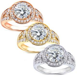 Annello 14k Gold Moissanite and 3/8ct TDW Diamond Engagement Ring (G-H, I1-I2) with Bonus Item