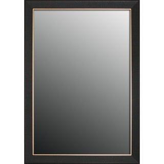 Etched Black Walnut Pattern Gold Trim Mirror (22x58)