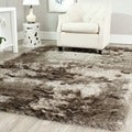 Hand-woven Silken Sable Brown Shag Rug (7' Square)