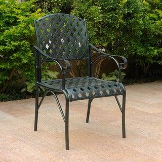 International Caravan Diamond Lattice Iron Verdi Gris Patio Chairs (Set of 2)