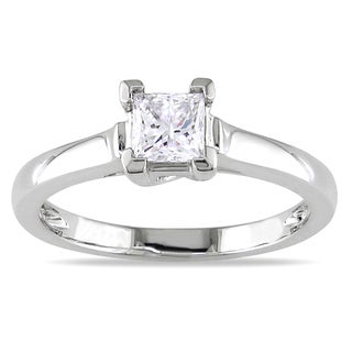 Miadora Platinum 1/2ct TDW Princess Diamond Solitaire Ring (I-J, I1-I2)