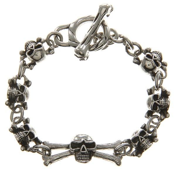 Inox Stainless Steel Oxidized Black Ion-plated Skull toggle Bracelet