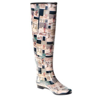 Henry Ferrera Women's Knee-high Vintage Winter Postcard Printed Rubber Rain Boots
