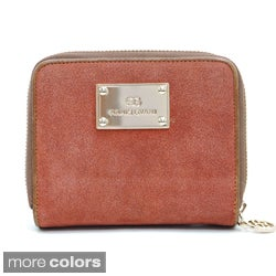 Anais Gvani Women's Suede and Italian Leather Solid Wallet