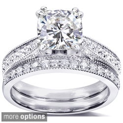 Annello 14k Gold Moissanite and 1/3ct TDW Pave-set Diamond Bridal Ring Set (G-H, I1-I2)