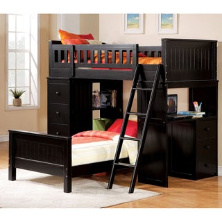 Willoughby Black Finish Twin Loft and Twin Bed Set