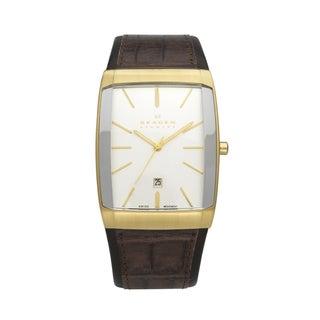Skagen Men's 984LGLD Rectangular Dial Brown Leather Strap Watch