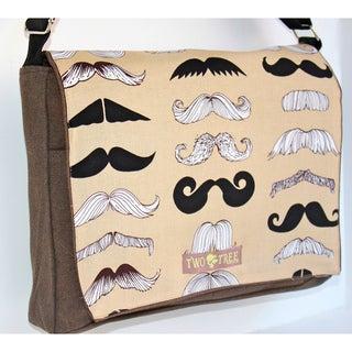 Handmade Medium Brown Mustache Messenger Bag