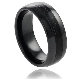 Vance Co. Ceramic Black Carbon Fiber Inlay Band (8 mm)