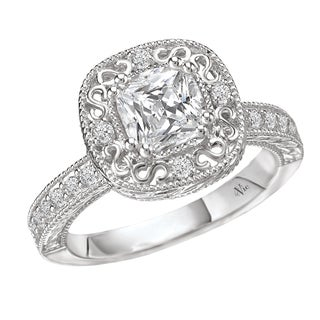 14k Gold Cushion CZ and 1/4ct TDW Diamond Engagement Ring (G-H, SI1-SI2)