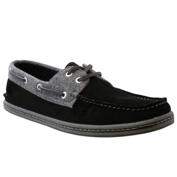 GBX Men's Black Suede Boat Shoes