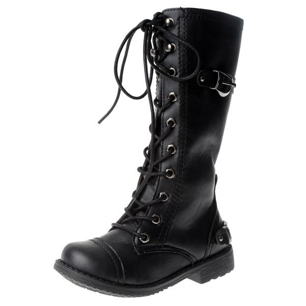 Eddie Marc Girl's Black Lace-up Knee-high Boots