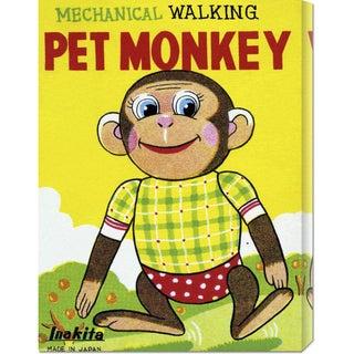 Retrobot 'Mechanical Walking Pet Monkey' Stretched Canvas Art