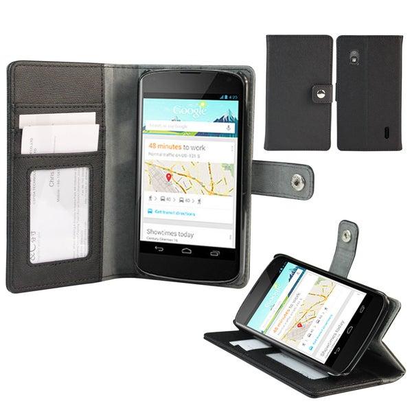 Deluxe Google Nexus 4 Black Wallet Stand Cover