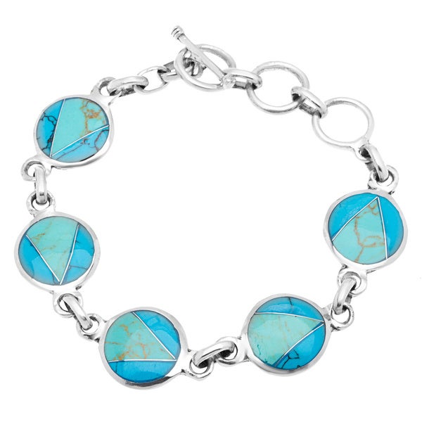 Handcrafted Mexican Alpaca Silver and Turquoise Disk Bracelet (Mexico)