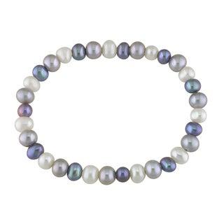 Miadora White, Black and Grey Pearl Stretch Bracelet (6-7 mm)