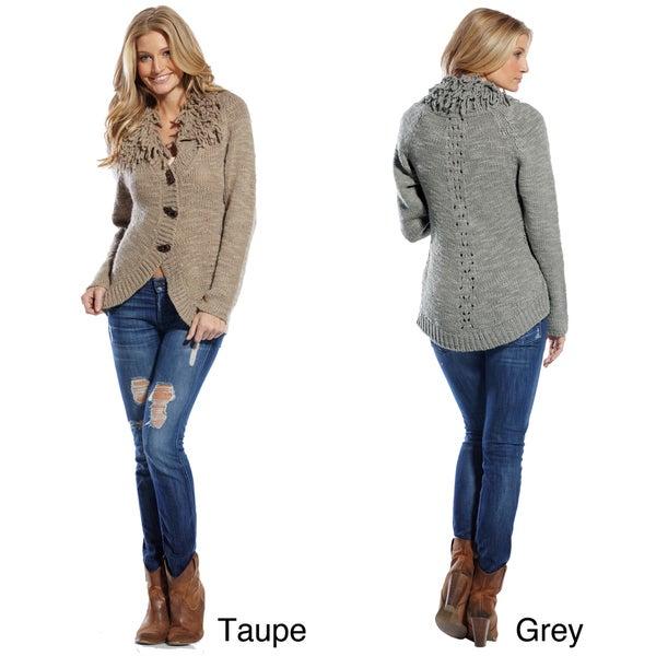 Elan Women's Poodle Collar Button-front Sweater