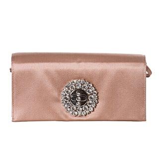 Prada Blush Rose Satin Crystal Turn-lock Evening Bag