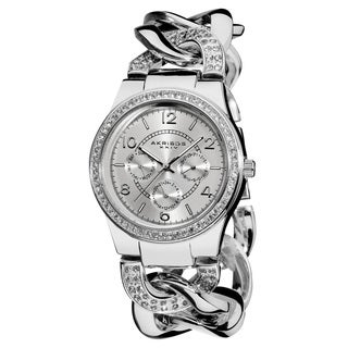 Women's Quartz Multifunction Crystal-Accented Silver Twist Chain Watch