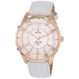 Bulova Women's 98R150 'Sport Marine Star' Diamond Bezel White Leather Watch