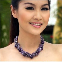 Amethyst 'Gush' Cluster Necklace (Thailand)