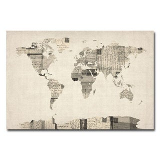 Michael Tompsett 'Vintage Postcard World Map' Canvas Art