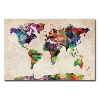 Michael Tompsett 'Urban Watercolor World Map' Canvas Art