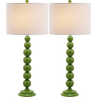 Safavieh Jenna Stacked Ball 1-light Green Table Lamps (Set of 2)