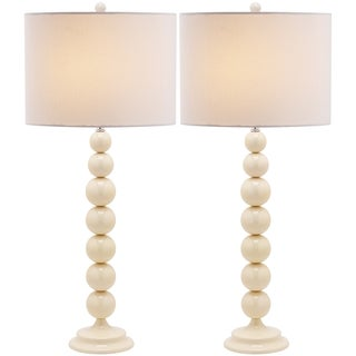 Safavieh Jenna Stacked Ball 1-light Pearl White Table Lamps (Set of 2)