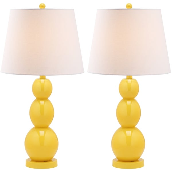 Safavieh Jayne Three Sphere Glass 1-light Yellow Table Lamps (Set of 2)