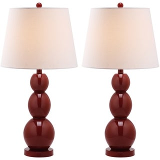Safavieh Jayne Three Sphere Glass 1-light Red Table Lamps (Set of 2)
