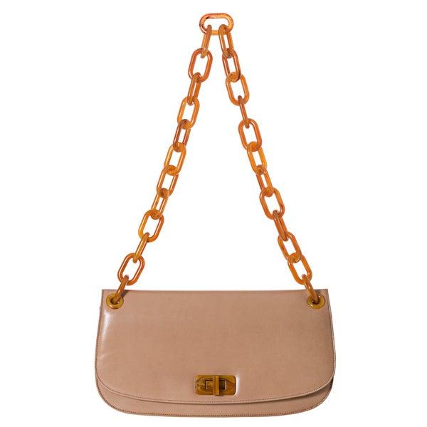 Prada 'Madras' Beige Chain Style Strap Shoulder Bag