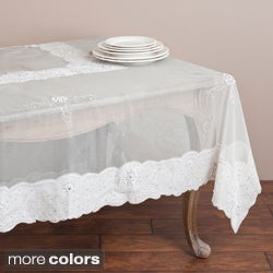 Ecru Embroidered and Beaded 90-inch Round or Square Tablecloth