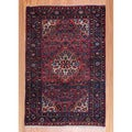 Persian Hand-knotted Tribal 1940&#39;s Hamadan Red/ Ivory Wool Rug (3&#39;4 x 5&#39;3)