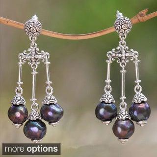 Sterling Silver Cultured Pearl Chandelier Earrings (8.5 mm) (Indonesia)