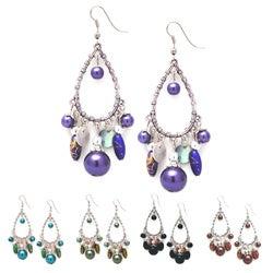 Glass Pearl Chandelier Earrings